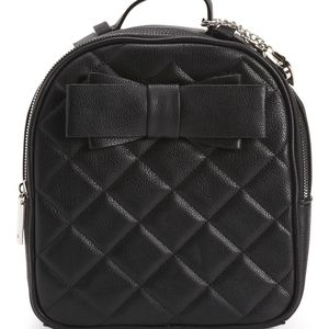 Betsey Johnson Black Small Quilted Backpack Bow